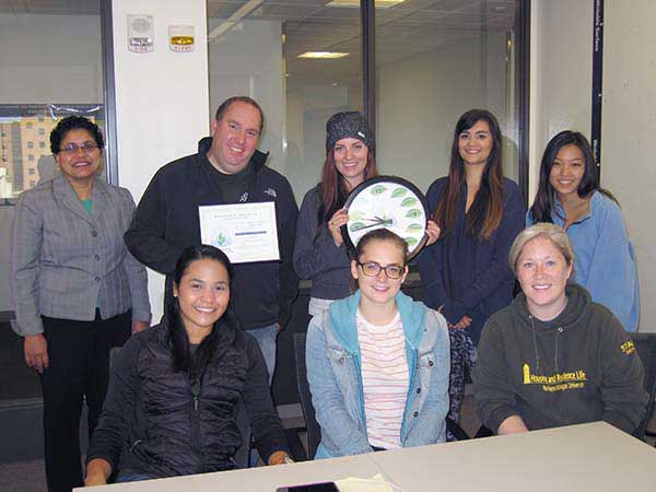Allen lab group with sustainable lab certificate