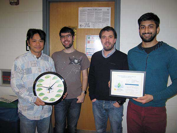 Amidon lab group with sustainable lab certificate