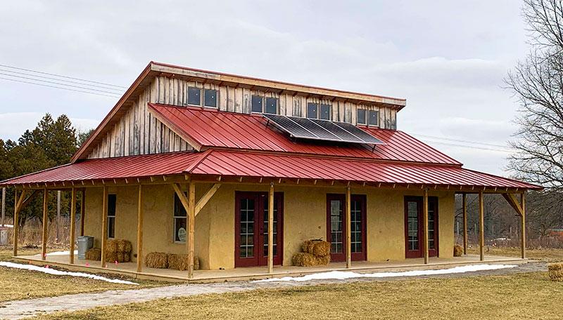 straw bale building solar panels